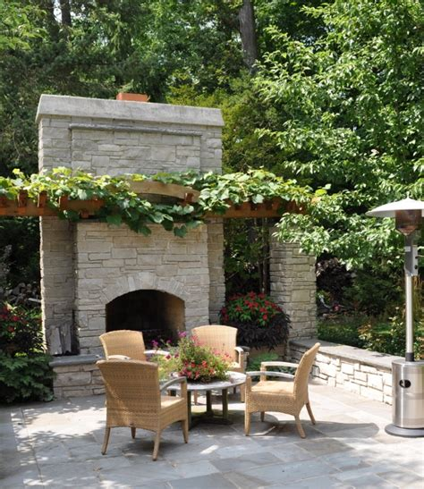 outdoor fireplace with sitting area ah and their