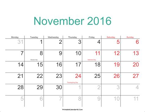 November Calendar November 2016 Calendar Printable With Holidays Pdf And Jpg