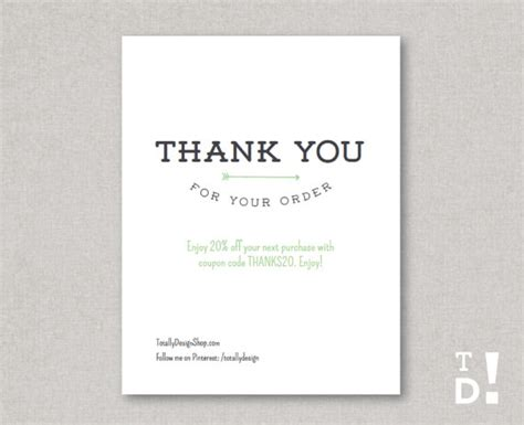 order cards thank you for your order card printable instant by