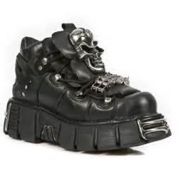 chaussures gothiques mixtes en cuir noir rock 111 s1