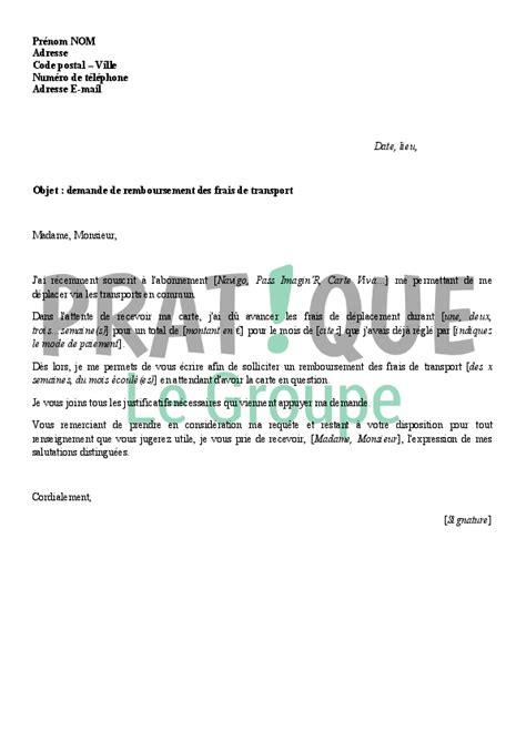 Modeles De Lettre De Bonne ã E Lettre De Demande De Remboursement Des Frais De Transport Pratique Fr