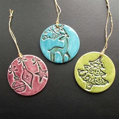 folksy buy quot ceramic christmas decorations set of three