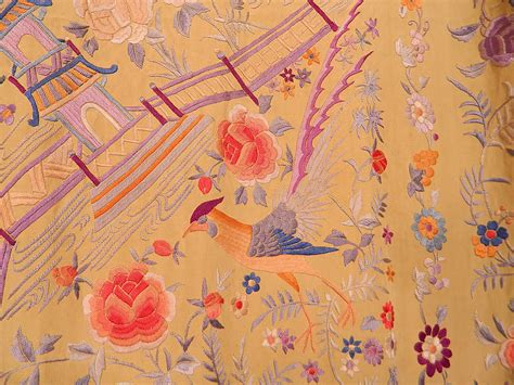 Pashmina Motif Yellow Butterfly antique yellow silk pastel embroidery butterfly bird temple piano shawl ebay