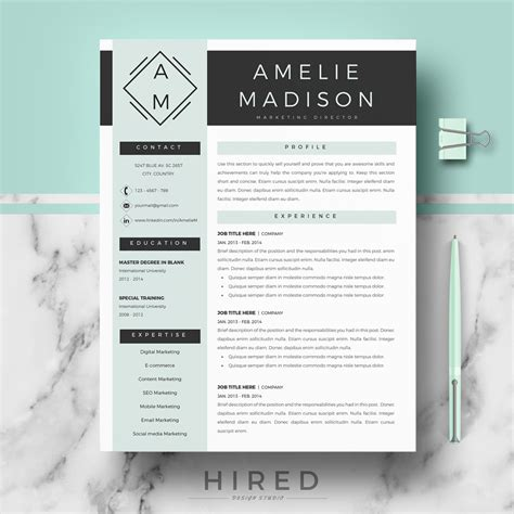 Modern Resume resume templates hired design studio