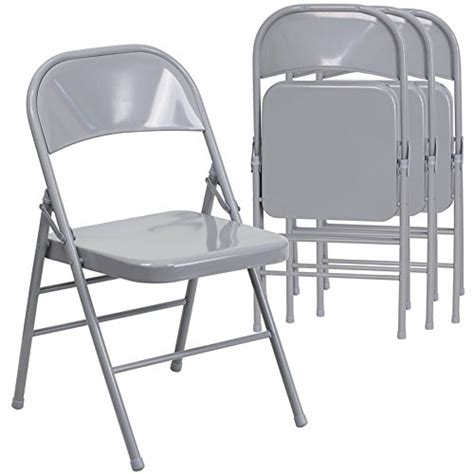 Metal Fold Up Chairs by 4 Pack Gray Metal Folding Chairs Ebay
