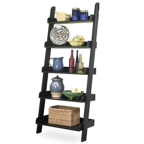 whitewood ladder bookshelf leaning bookcase