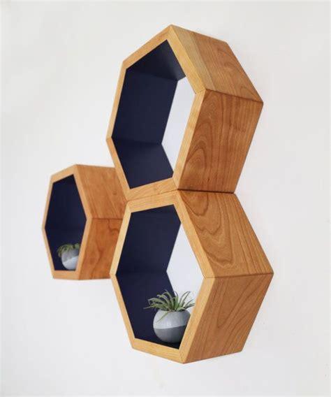 mid century shelves honeycomb shelving hexagon wall