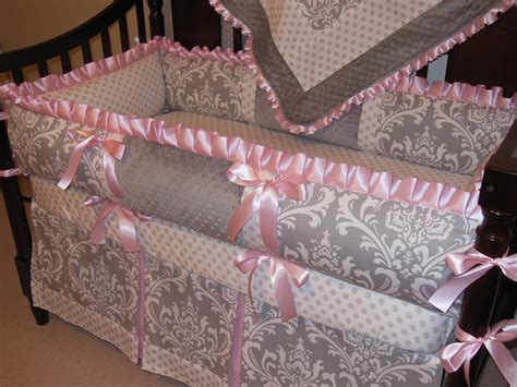 Gray And Pink Crib Bedding Set Custom Crib Bedding Set Gray Damask Pink Reserved For Payment Crib Bedding