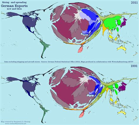 german map of the world 20 years of german exports views of the world