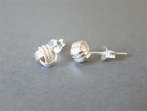 Can You Wear Sterling Silver In The Shower by Tiny Sterling Silver Knot Stud Earrings Dainty Jewelry
