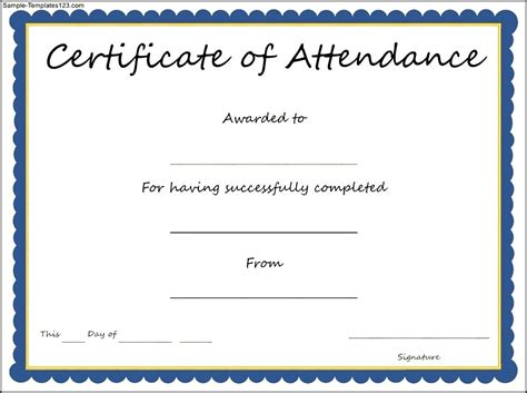 certificates of attendance templates certificate of attendance template sle templates
