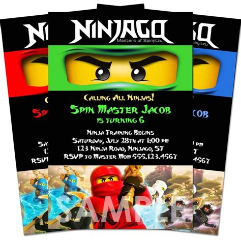printable ninjago invitations free ninjago invitation birthday party printable invite