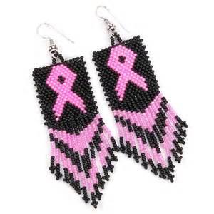 Black Beaded Chandelier Black Pink Ribbon Big Seed Bead Earrings Breast Cancer