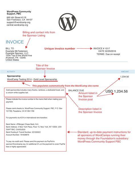 sle invoice sponsorship sponsorship invoice template word hardhost info