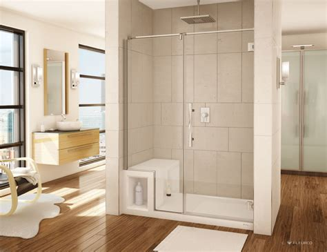 acrylic shower bench acrylic shower base and pivoting door system transitional bathroom cleveland
