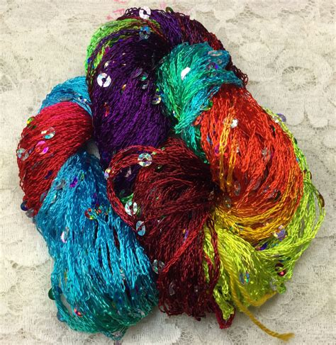 knitting wool with sequins dyed sequins 75 yds rainbow scarf knitting yarn trim