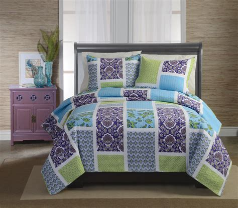 Purple Quilt King by Retro Chic Maggie Purple King Quilt With 2 Shams Home Bed Bath Bedding Quilts Coverlets