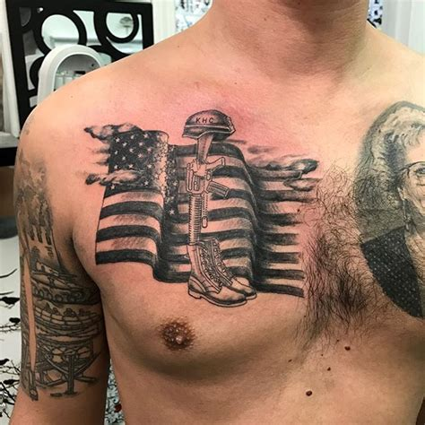 3d tattoo virginia 3d chest flag and memorial tattoo veteran ink