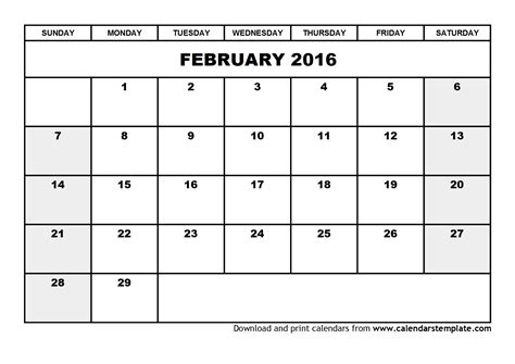 printable weekly calendar february 2016 february 2016 calendar template