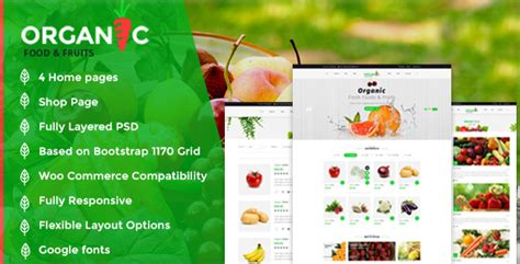 themeforest organic food organic food and fruits template nulled download