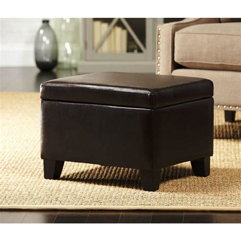 Home Decorators Ottoman Home Decorators Collection Classic Faux Leather Storage Ottoman In Brown Cnf1611 The Home