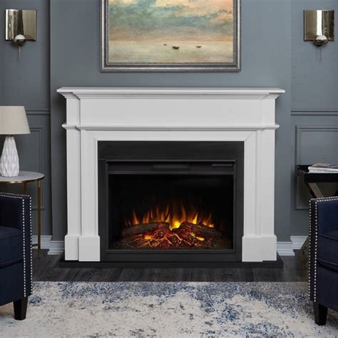 Electric Fireplace In White by Real Harlan Grand Electric Fireplace In White 8060e W