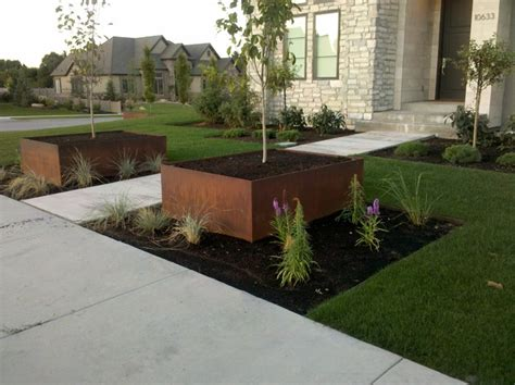 Rusted Steel Planters by Rust Finish Steel Planters
