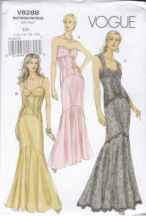 pattern making gown vogue sewing pattern 8288 misses size 12 18 corset style