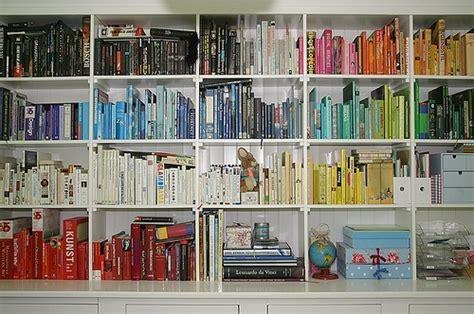 bg room book bookcase books bookshelf color coded