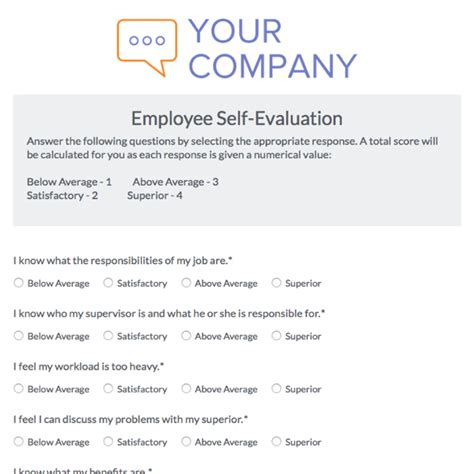 employee self evaluation form template employee self evaluation form template images template