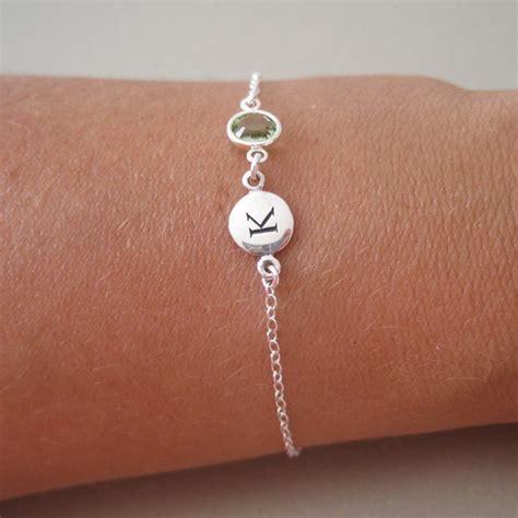 silver initial birthstone charm bracelet by