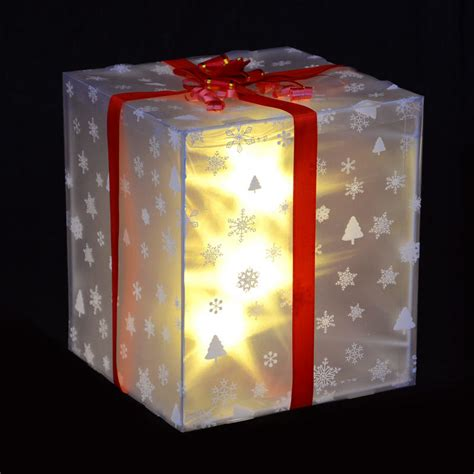 christmas light up gift box decoration with red ribbon bow