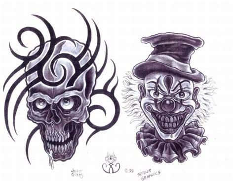 clown tattoo designs black white black ink skull and clown design 1