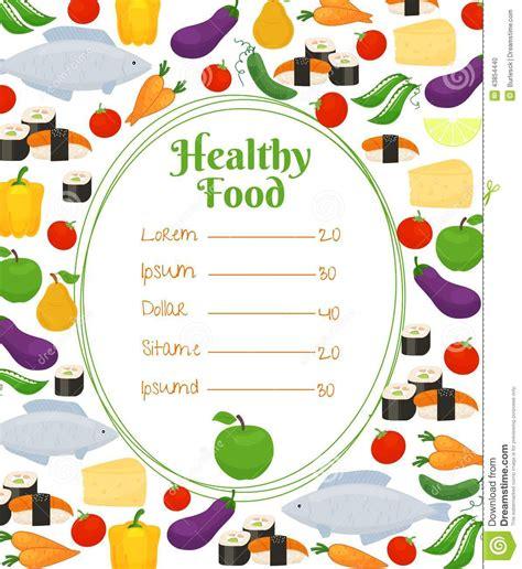 healthy food menu template stock vector image 43854440