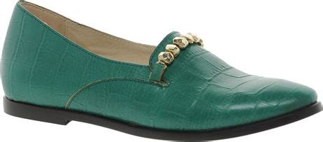 emerald green flat shoes new kid exclusive elma slip emerald croc flat shoes in