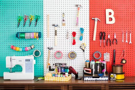 peg board organize your creative space with diy color blocked