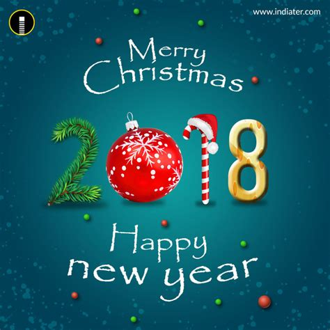 merry christmas and happy new year 2018 greeting psd