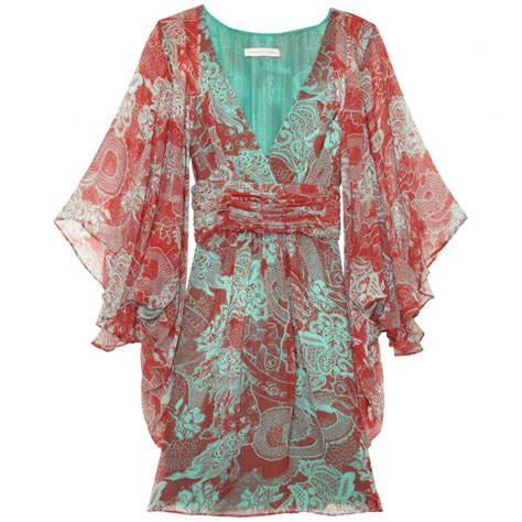 matthew williamson print jade silk chiffon kimono