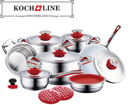 swiss koch kitchen collection cookware sets 16pcs koch line switzerland 100 authentic cook with ceramic coating fry