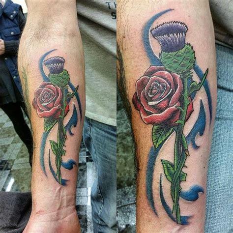 intertwined rose tattoos 70 scottish thistle designs flowertattooideas