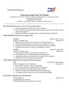 Chronological Resume Layout by Chronological Resume This Is A Fairly Standard Layout For A Chronological Resume Education And