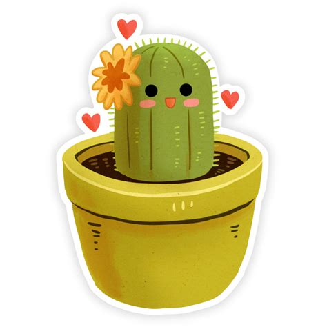 Stiker The josephine the cactus sticker teacup goblins