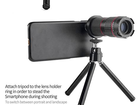 professional iphone xs max 6 5 4 12x zoom telescope with tripod stand
