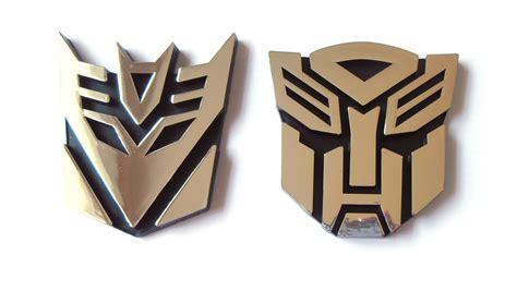 Emblem Transformers Autobots Transformer Autobot Chrome transformers autobot and decepticon chrome emblem 9 5 cm set of two