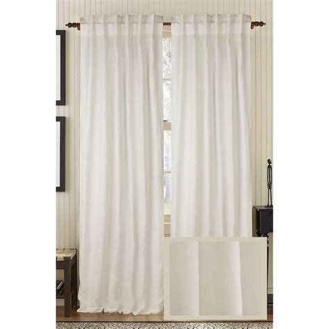 living ivory plain linen rod pocket curtain 50 in w