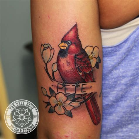 cardinal rose tattoo paul averette shops i the bell