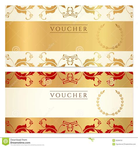 design background voucher gift certificate voucher coupon template stock image