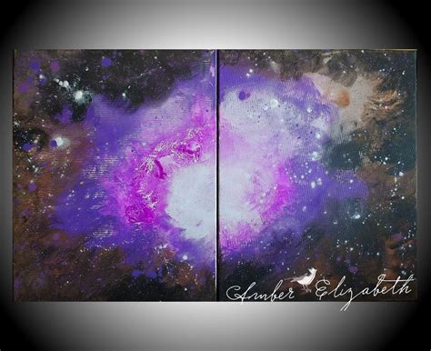 acrylic painting galaxy large original painting the amethyst galaxy 32 x 20 acrylic on