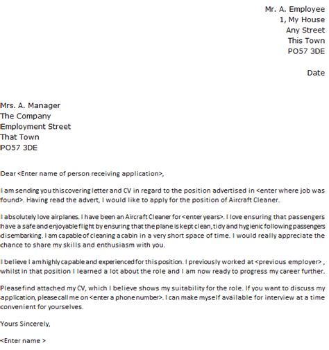 Aircraft Cleaner Cover Letter Sample   lettercv.com