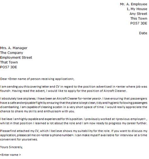 Aircraft Cleaner Cover Letter Sample   lettercv.com